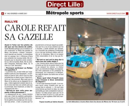 Direct Lille - Carole refait sa gazelle (03 mars 2011)